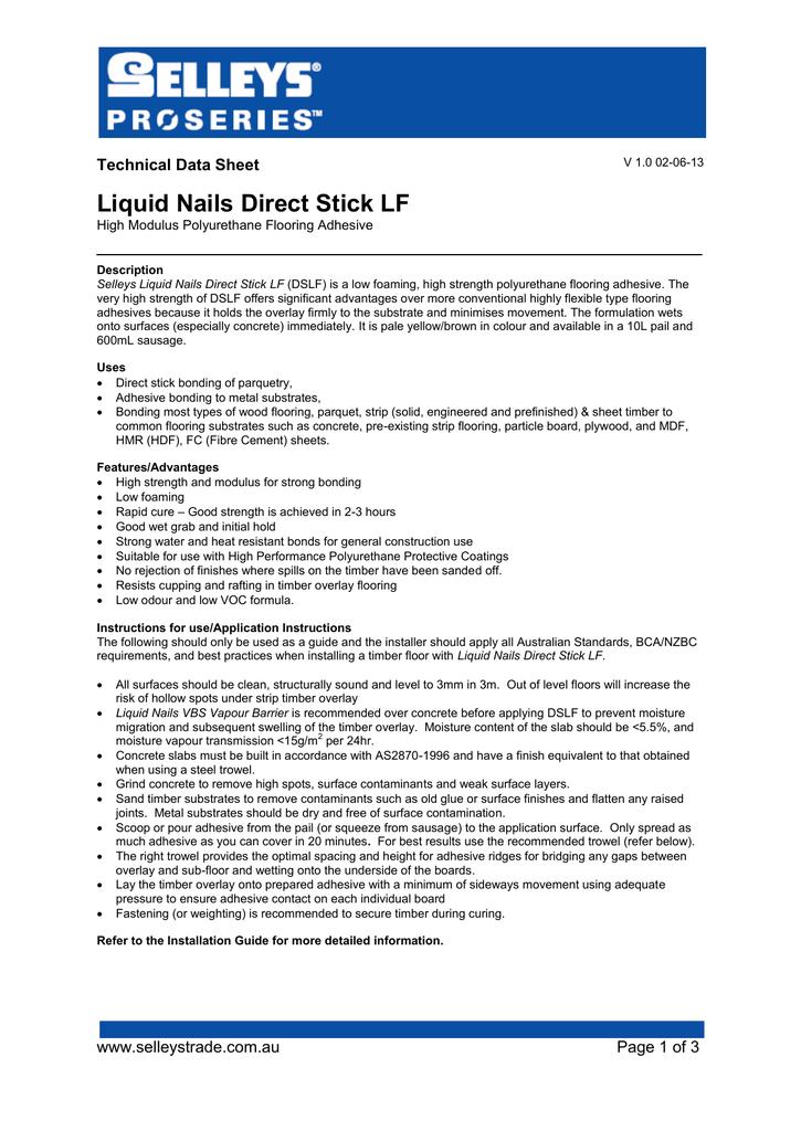 Liquid Nails Direct Stick LF TDS | manualzz com