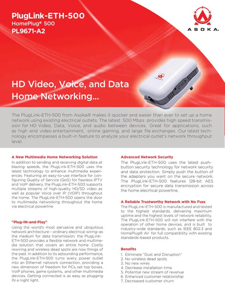 Datasheet-PlugLink9671-A2_Ethernet Adapter 500 Mbps