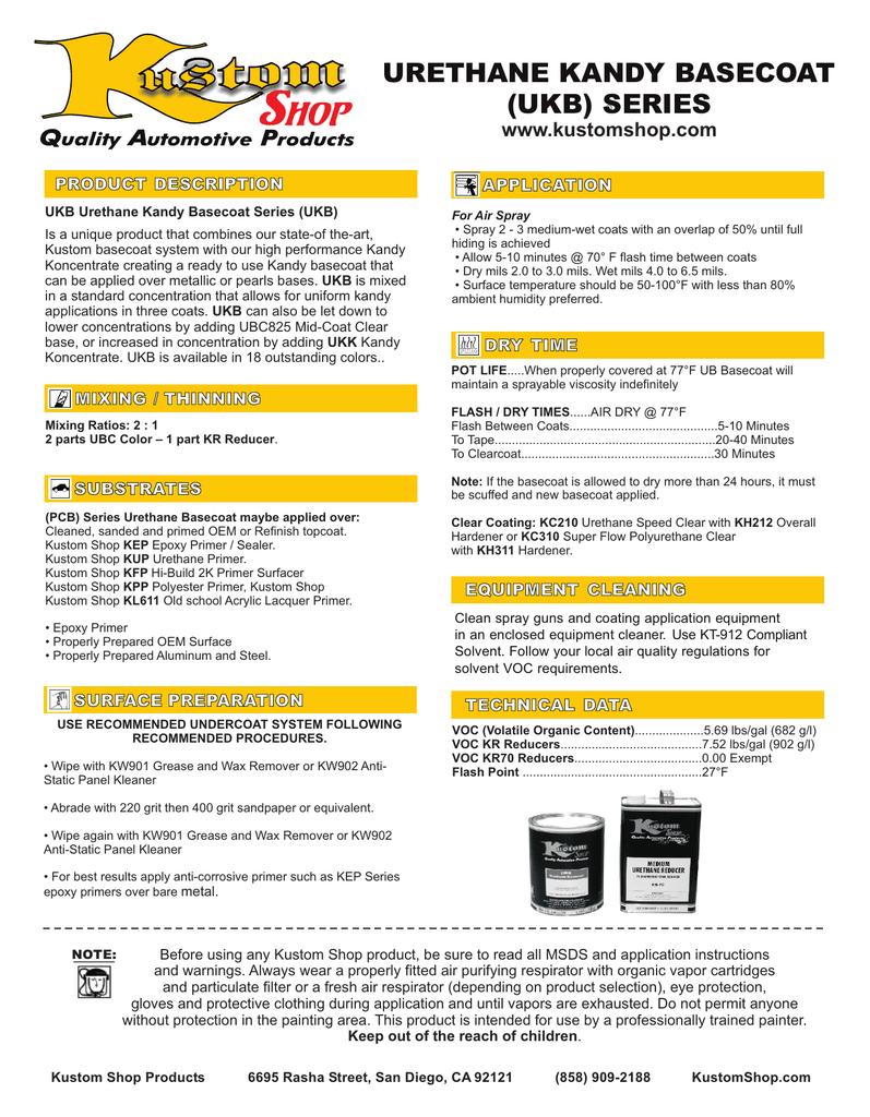 Urethane Kandy Basecoat (UKB) Series | manualzz com