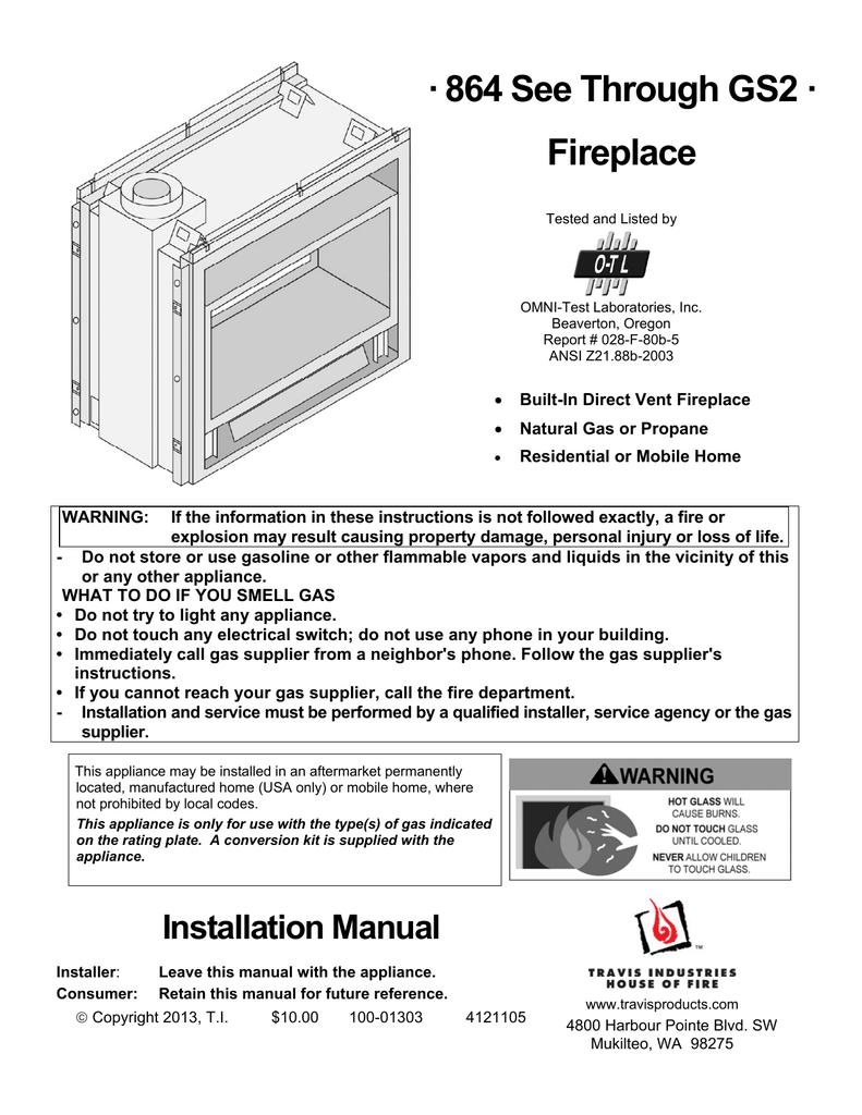 864 See Through Gs2 Fireplace Manualzz Com