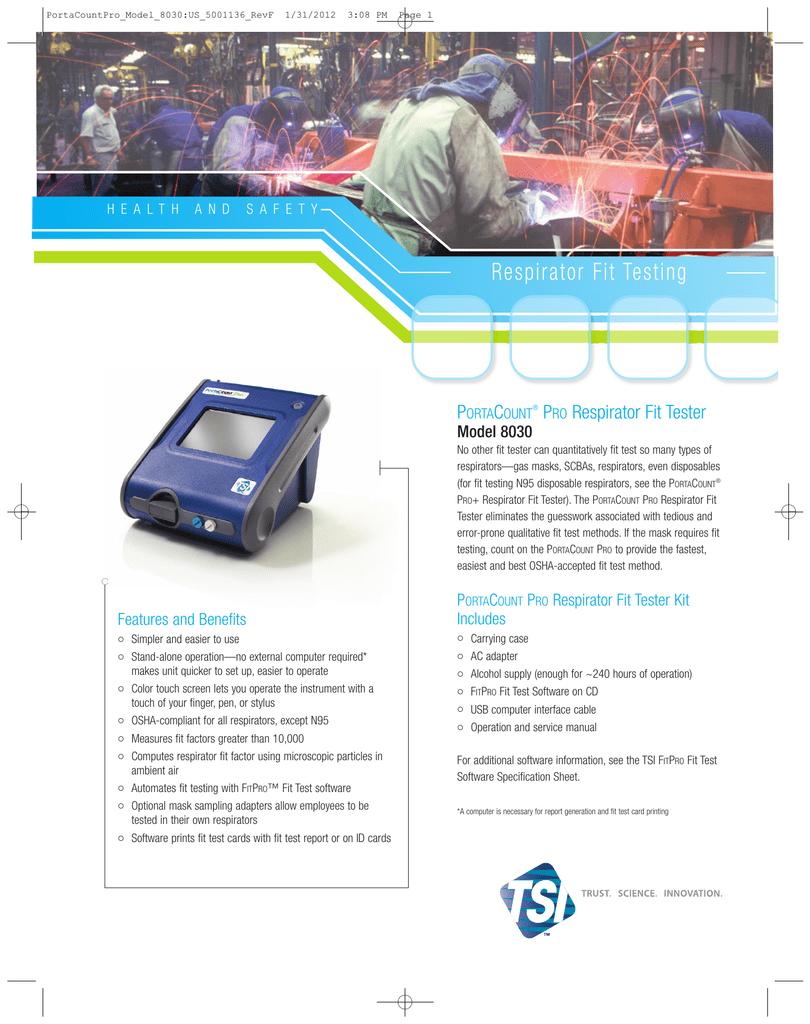 TSI PortaCount Pro 8030 specs | manualzz com
