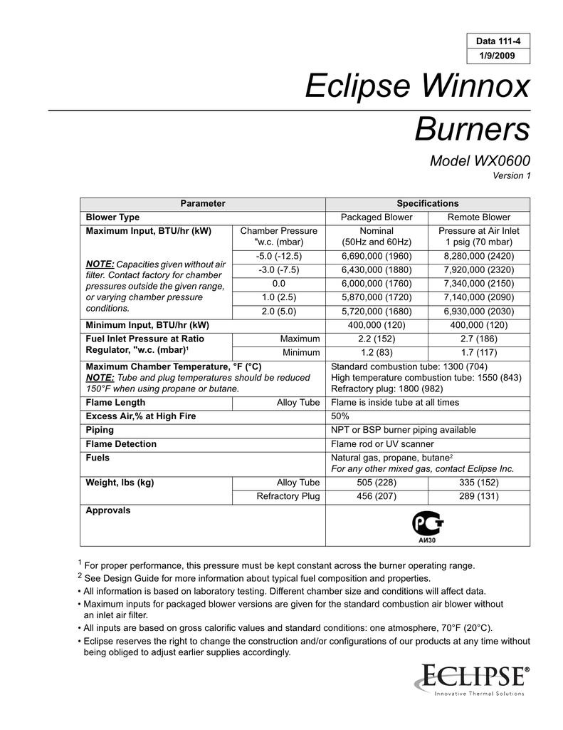 Eclipse Winnox Burners Model Wx0600 200 Fuel Filter Location