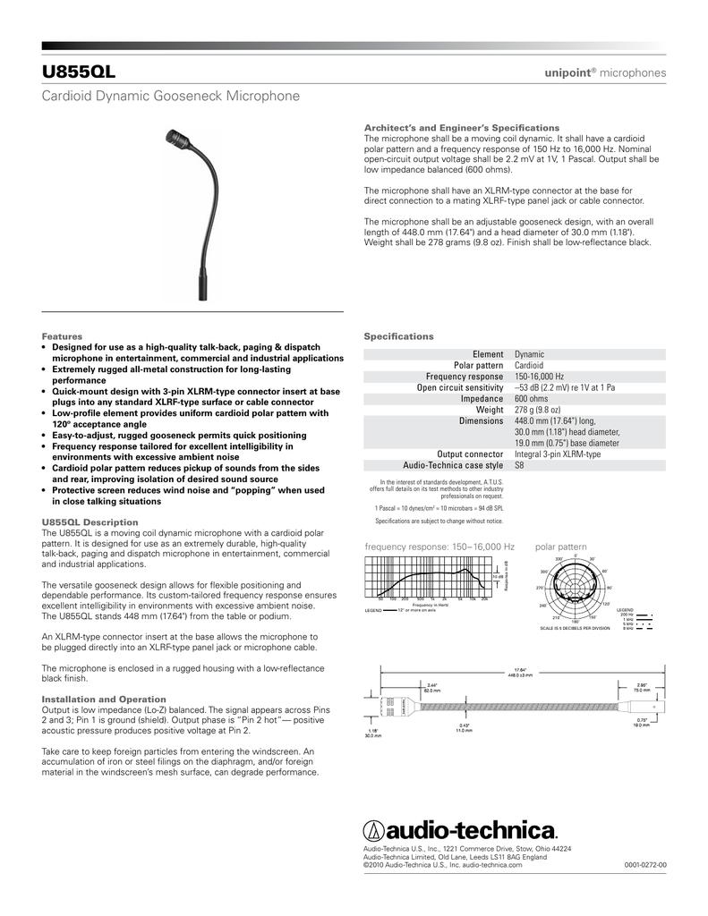 855QL U Cardioid Dynamic Gooseneck Microphone unipoint