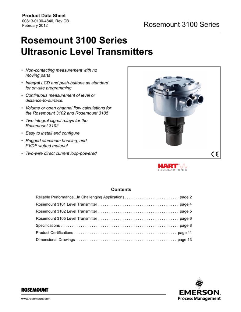 Rosemount 3100 Series Ultrasonic Level Transmitter Data Sheet ... on