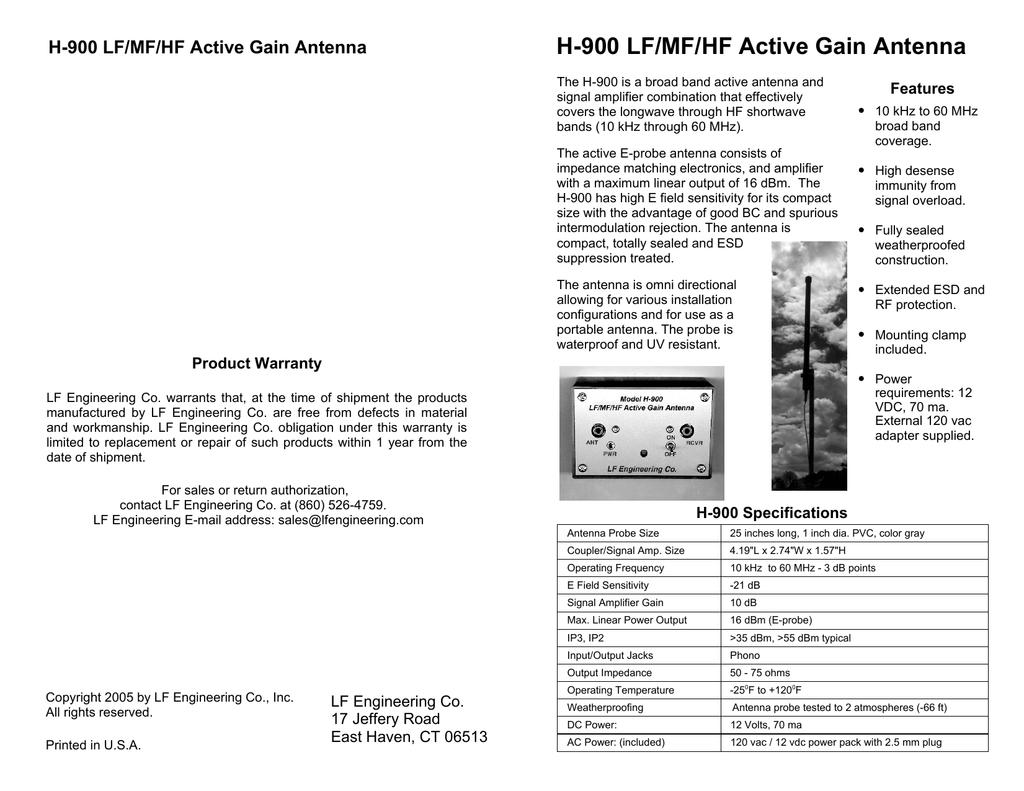 H-900 LF/MF/HF Active Gain Antenna Features | manualzz com