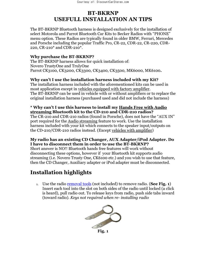 BT-BKRNP USEFULL INSTALLATION AN TIPS | manualzz com