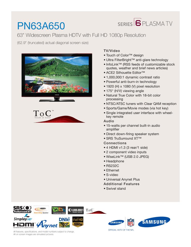 Samsung PN63A650 Product Sheet | manualzz com