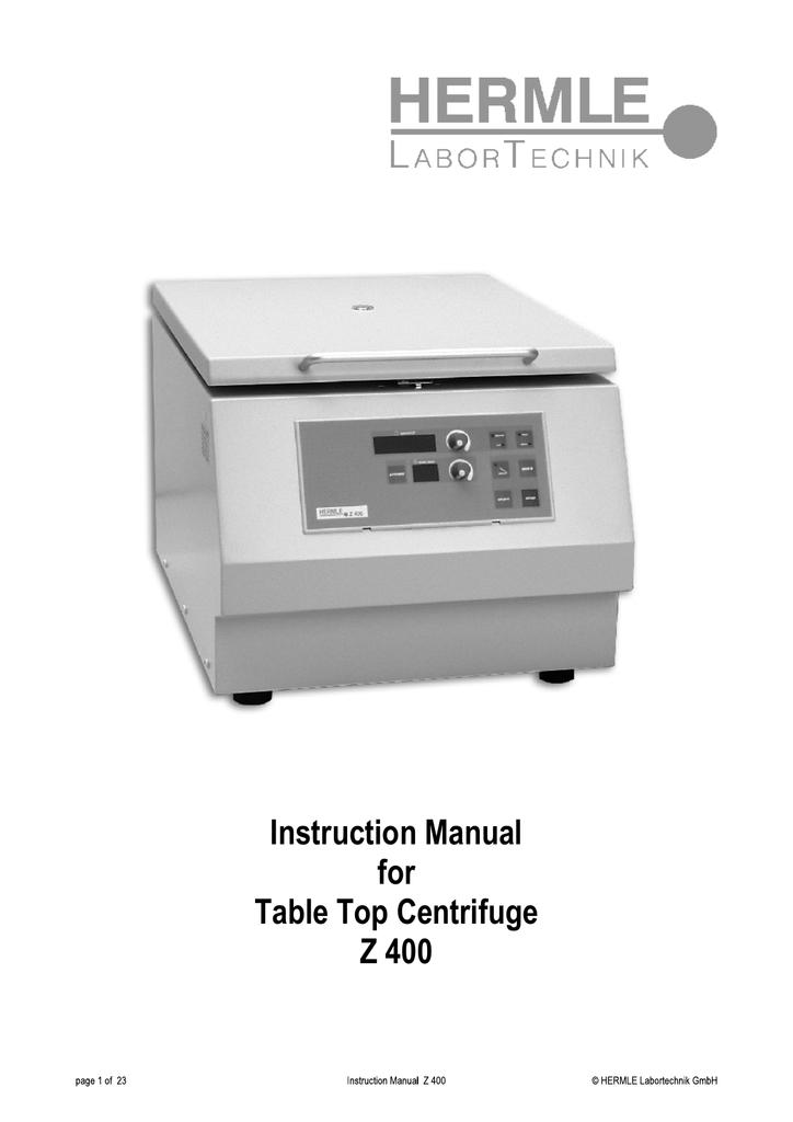 hermle z400 instruction manualzz com rh manualzz com hermle z200a centrifuge service manual Hermle 451 053 Clock Diagram