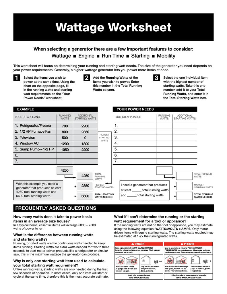 Wattage Worksheet Manualzz