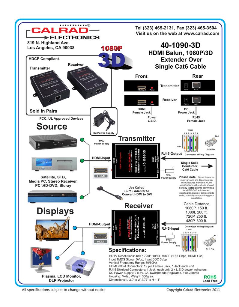40-1090-3D HDMI Single Cat6 Balun | Manualzzmanualzz