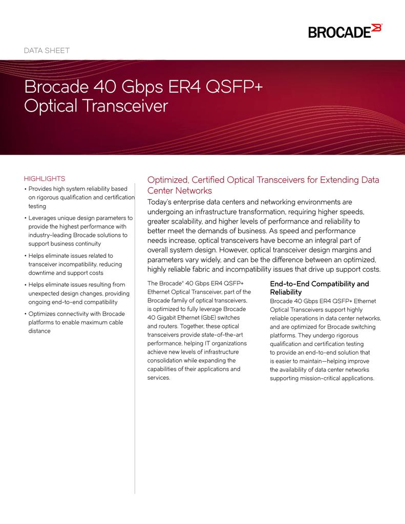 Brocade 40 Gbps Er4 Qsfp Optical Transceiver Data Sheet Manualzz