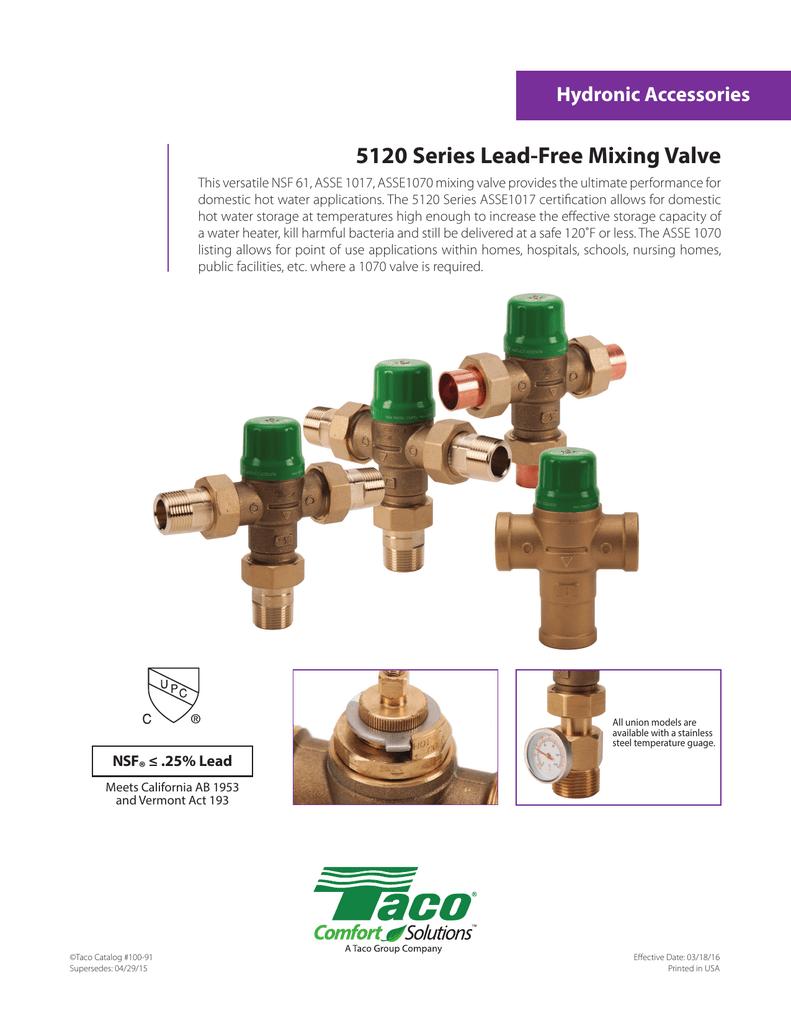 Standard Plumbing Supply Taco 5123 B2 3 4 Union Cpvc Mix Valve Asse 1017 1070 Faucet Valves