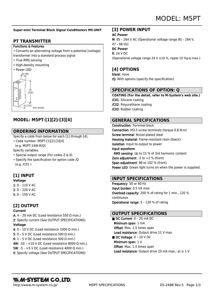 MODEL M5PT 3 POWER INPUT PT TRANSMITTER