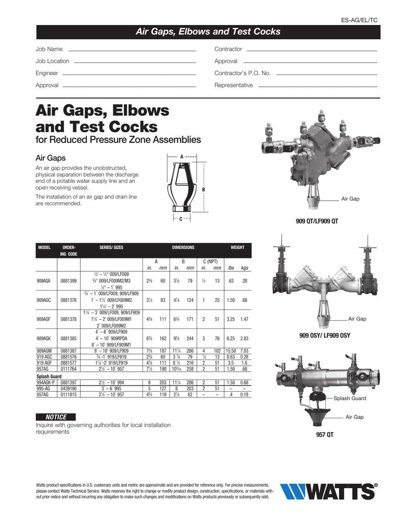NOS Watts 909AGF Air Gap Cast Iron