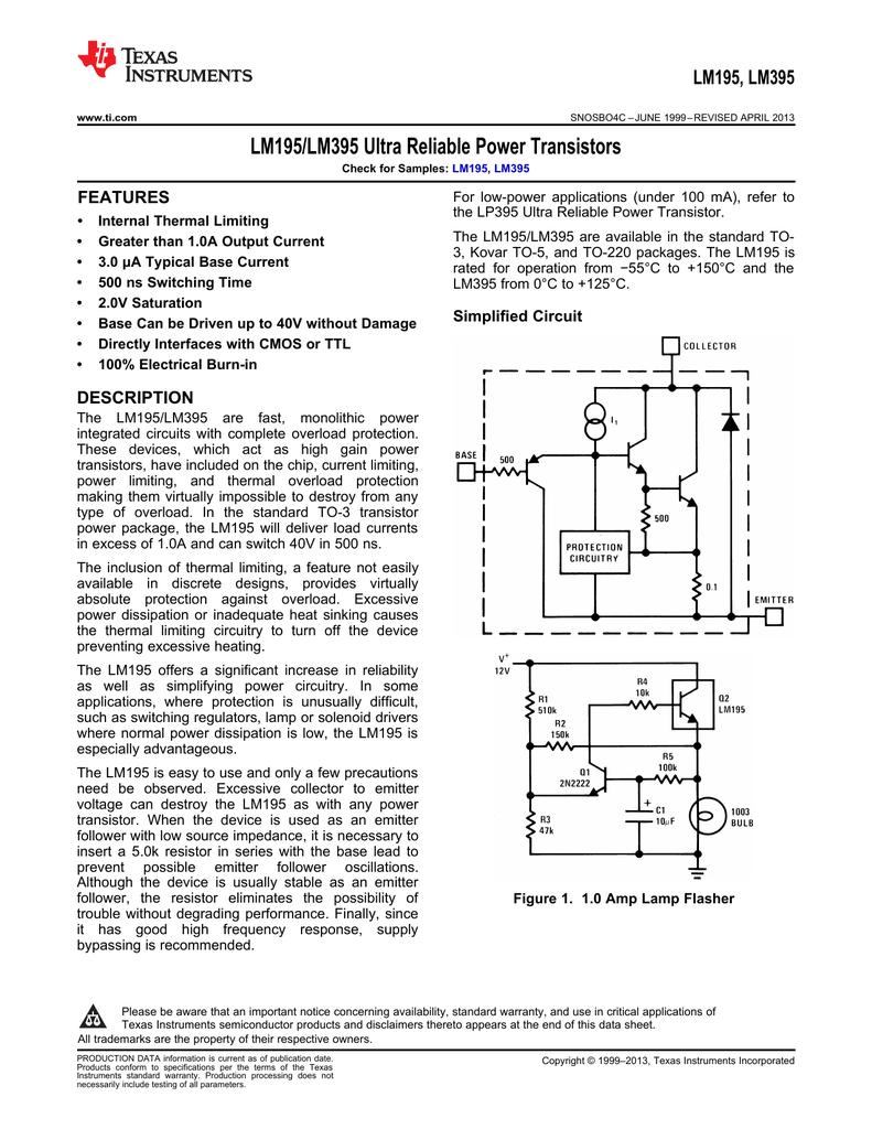 lm195 lm395 ultra reliable power transistors lm195, featureslm195 lm395 ultra reliable power transistors lm195, features manualzz com