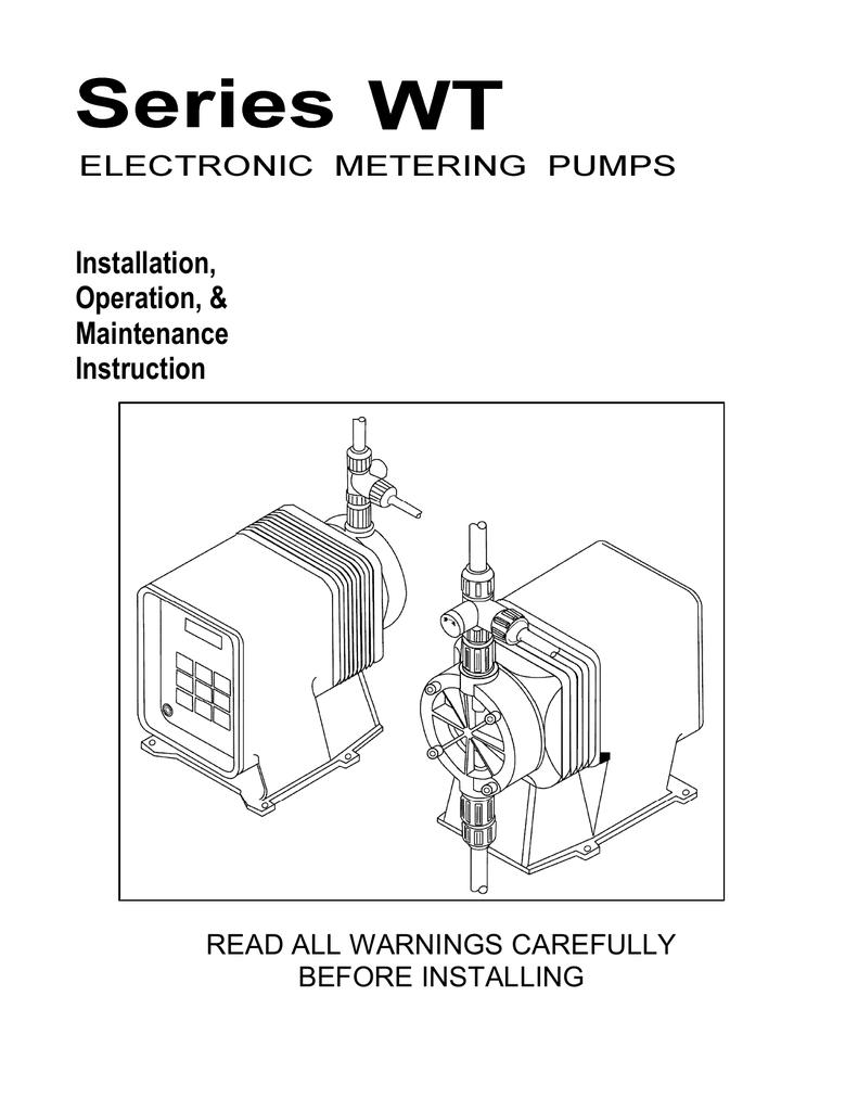 Pulsafeeder PULSAtron Plus Series WT Pumps Manual | manualzz com