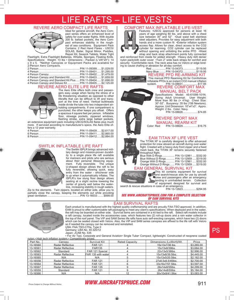 Page 911: Life Rafts   Life Vests, Revere Aero Compact Life