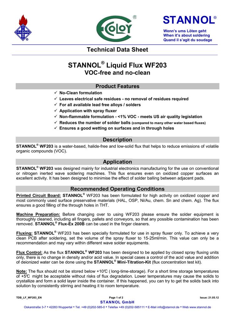 datasheet for WF203 by Stannol | manualzz com