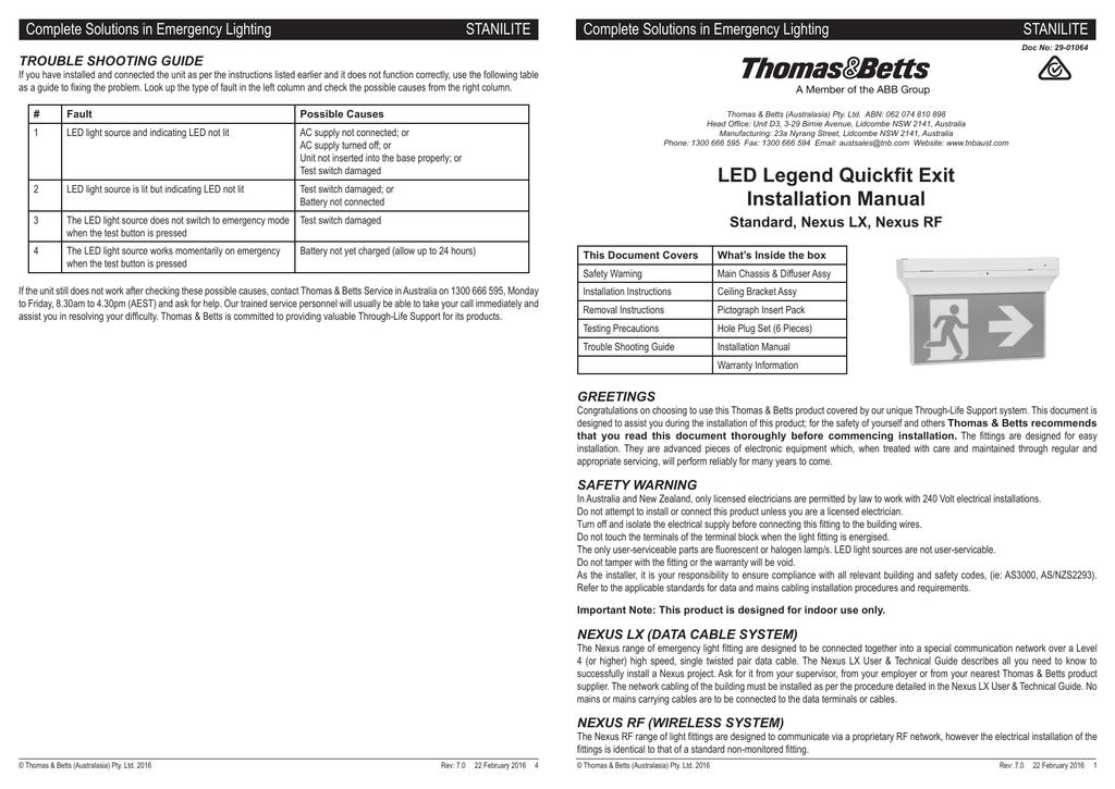 29 01064 Led Legend Quickfit Exit Installation Manual 29