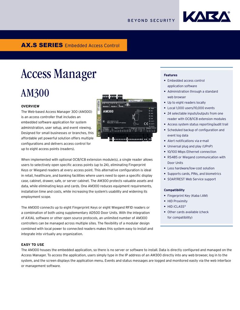 Kaba Embedded Access Control AM300 KAA-1295 | manualzz com