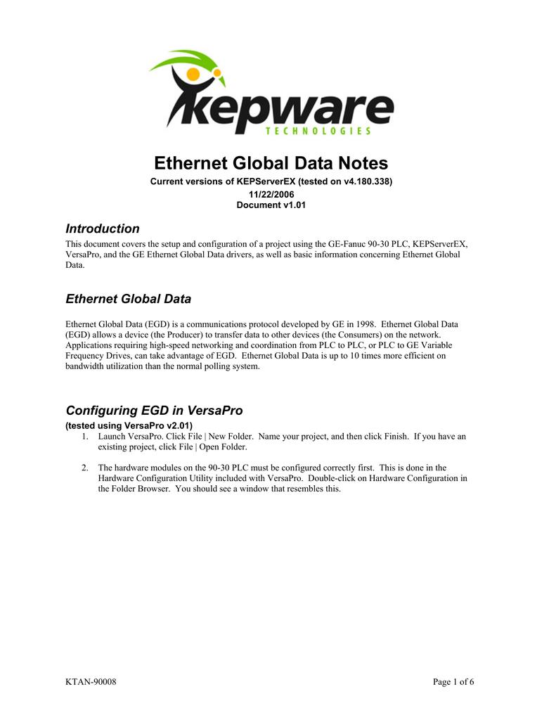 GE Ethernet Global Data Notes for KEPServerEX Version 4 | manualzz com