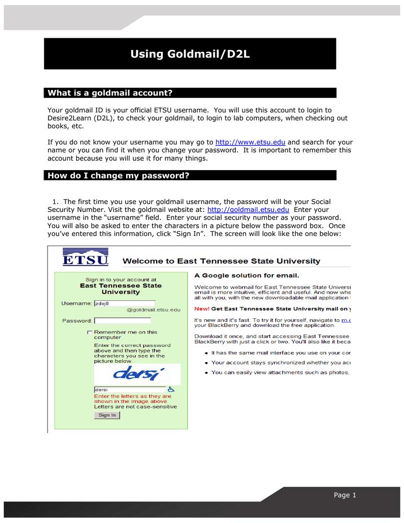 Using Goldmail/D2L What is a goldmail account?   manualzz com