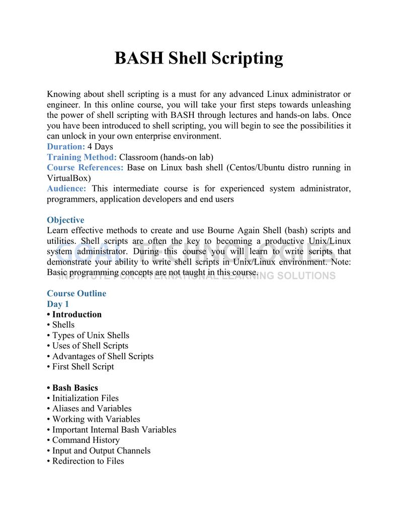 Click here for shell scripting syllabus | manualzz com
