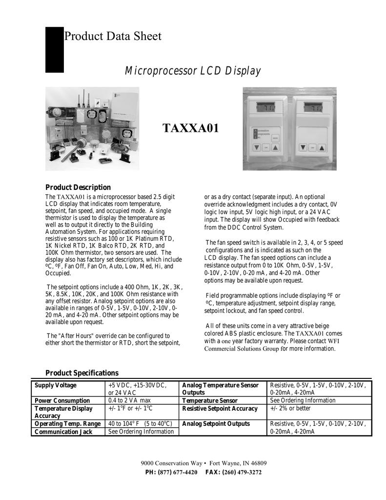TAXX A Series Sensor Product Data Sheet | manualzz com