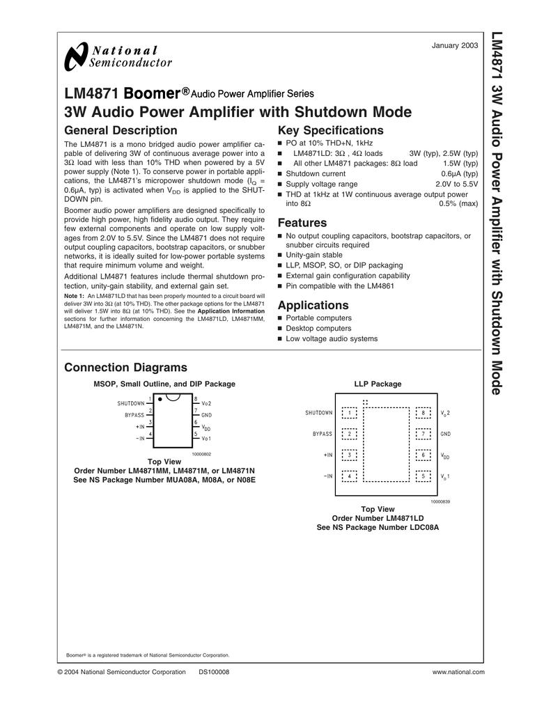 LM4871 3W Audio Power Amplifier with Shutdown Mode 3W Audio