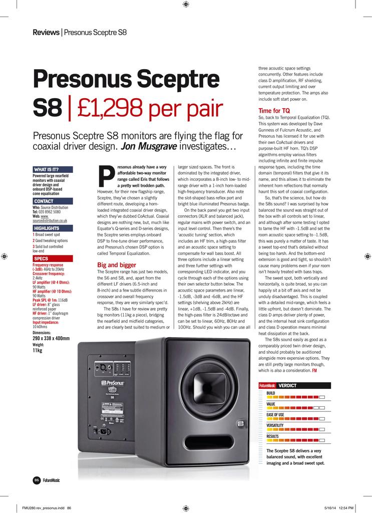 Future Music Sceptre S8 review   manualzz com