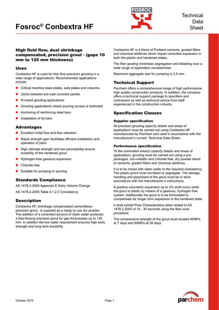 Fosroc Conbextra HF TDS | manualzz com
