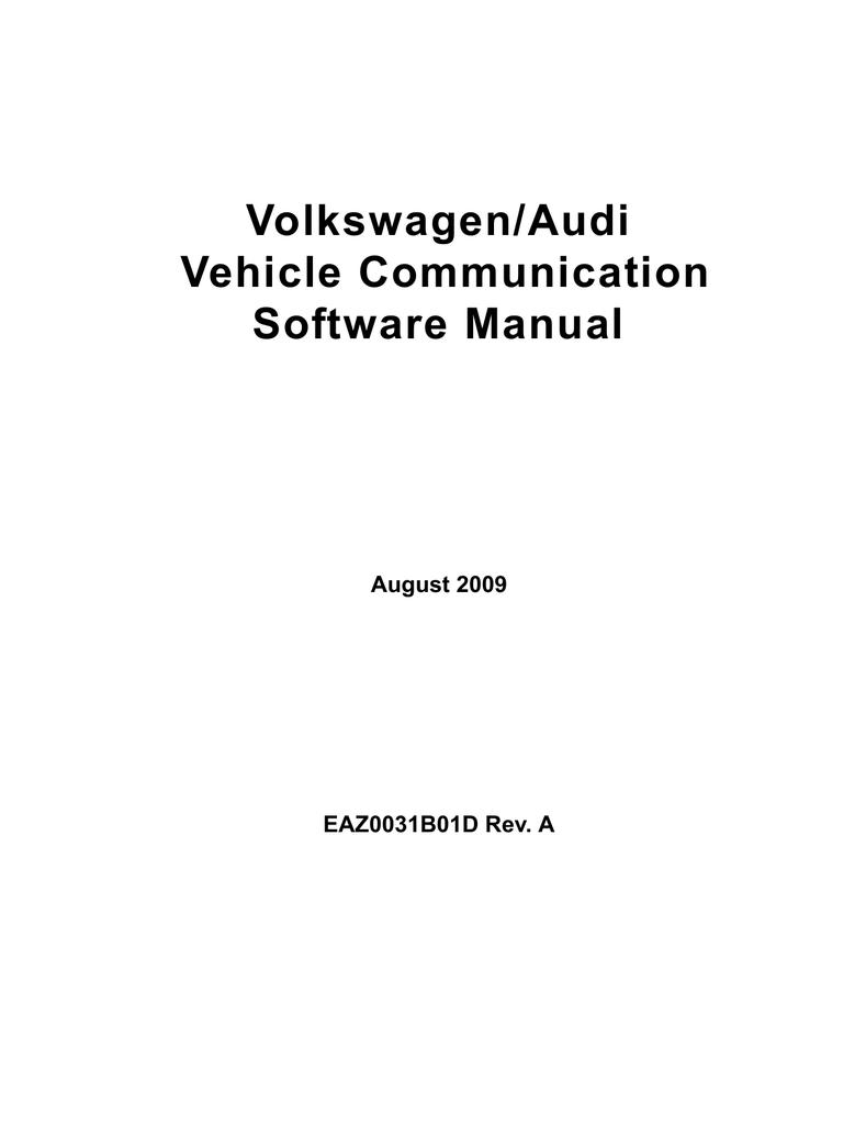 Volkswagen-Audi Vehicle Communication Software Manual