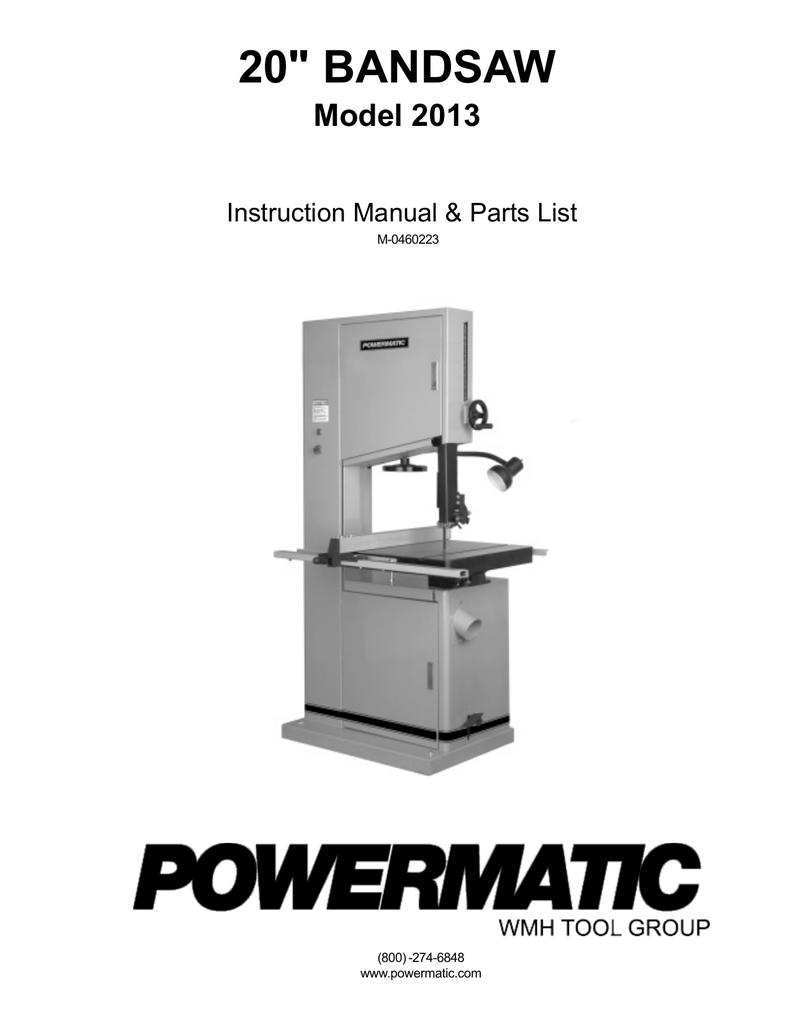 Powermatic Model 2013 Bandsaw   manualzz com