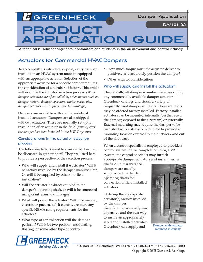 Damper Application DA/101-02 | manualzz com