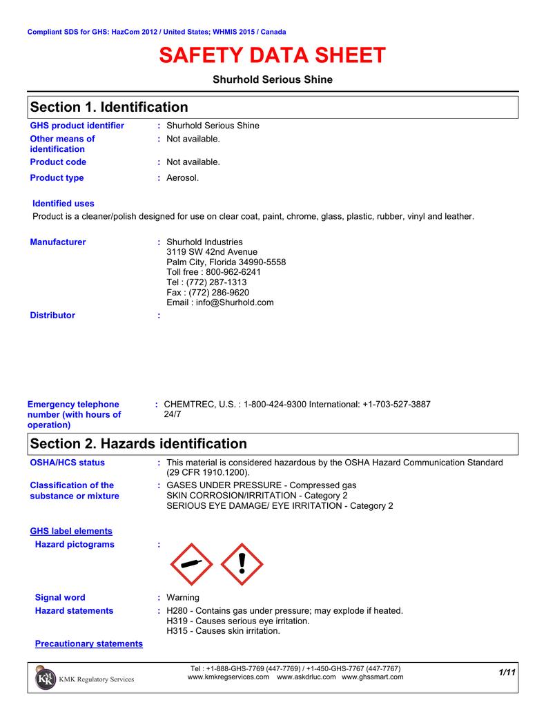 MSDS / SDS sheet for Serious Shine | manualzz com