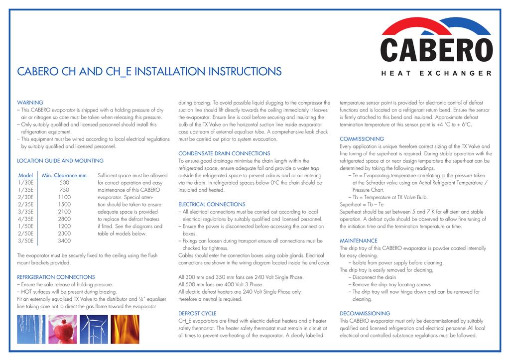 Cabero CH CHE Installation Instructions | manualzz com