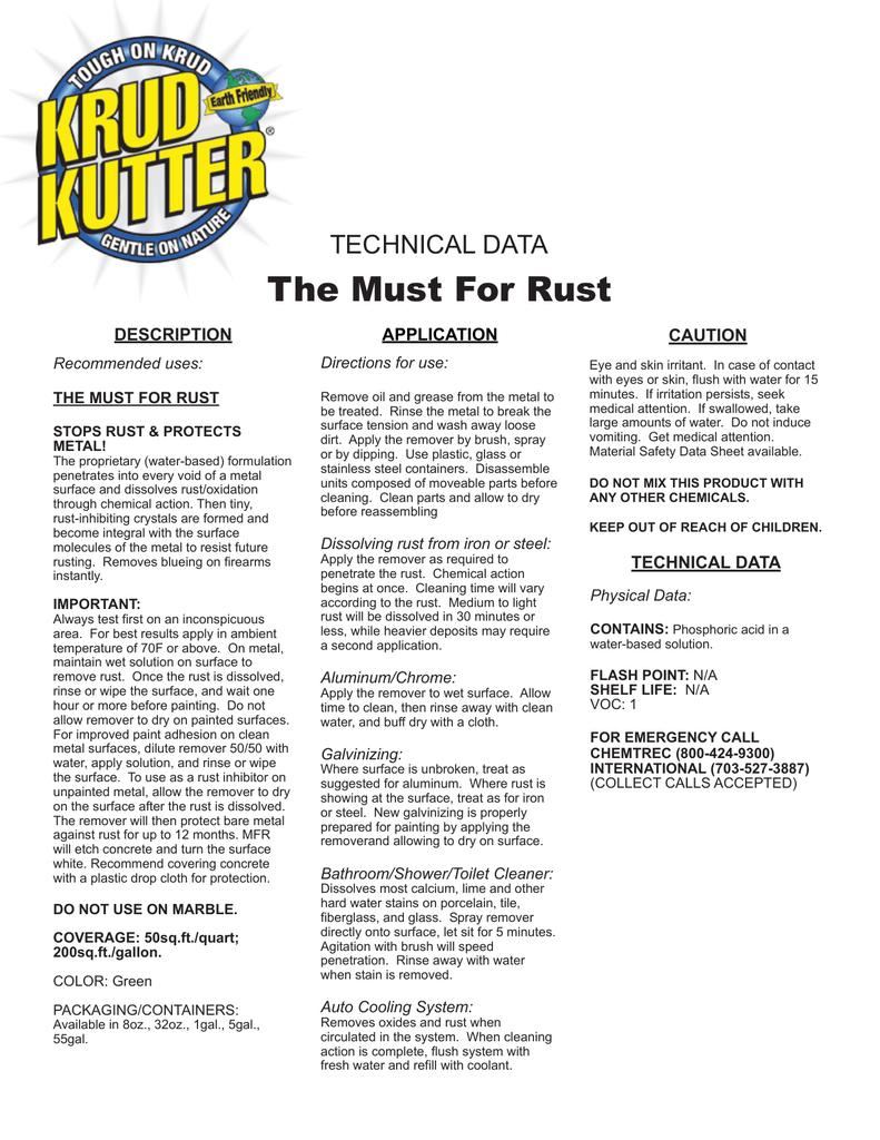 Must Rust Technical Data   manualzz com