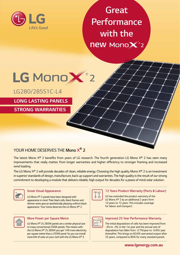 Lg 285w Mono X2 Solar Module Data Sheet Manualzz