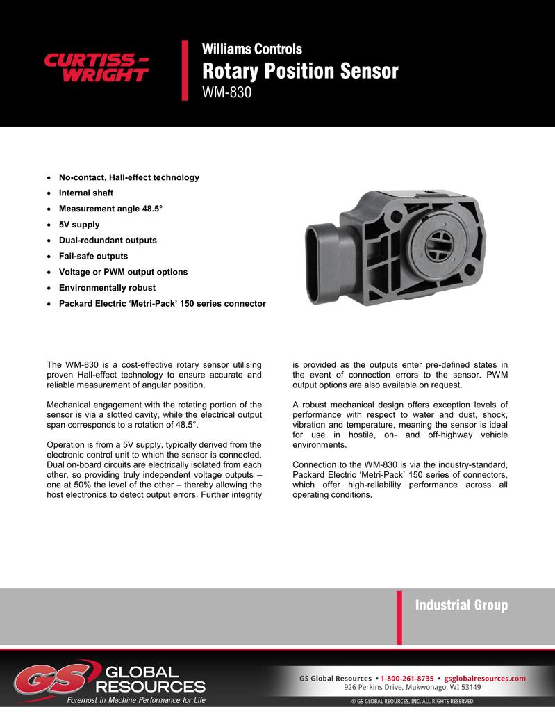 Rotary Position Sensor Williams Controls WM-830 | manualzz com