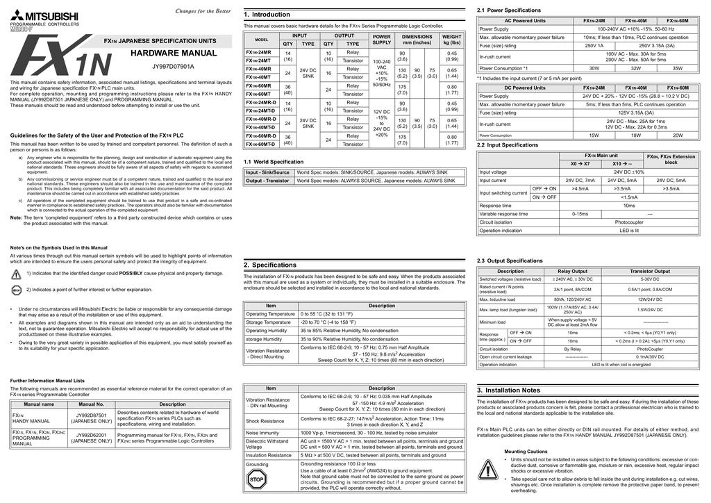 FX1N Hardware Manual | manualzz com