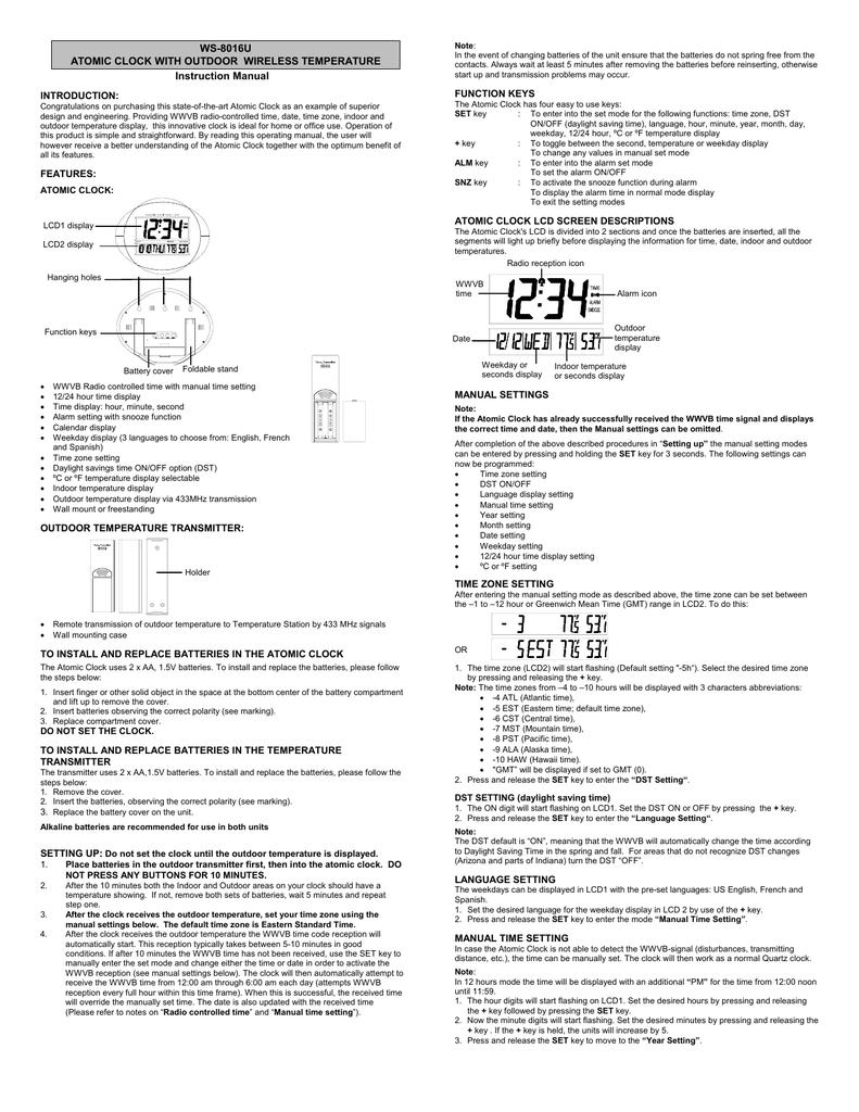 WS-8016U ATOMIC CLOCK WITH OUTDOOR WIRELESS TEMPERATURE