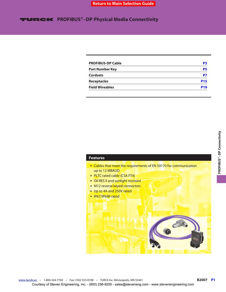 Turck Fksdwe D9s 455-1M-1M Cordset Profibus-Dp D9 Connector Fksdwe D9s 455-1M-1M