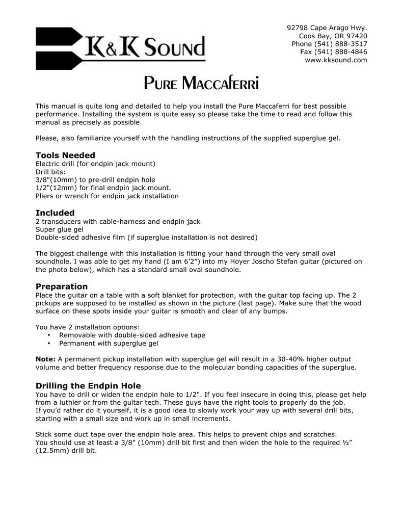 Pure Maccaferri | manualzz com