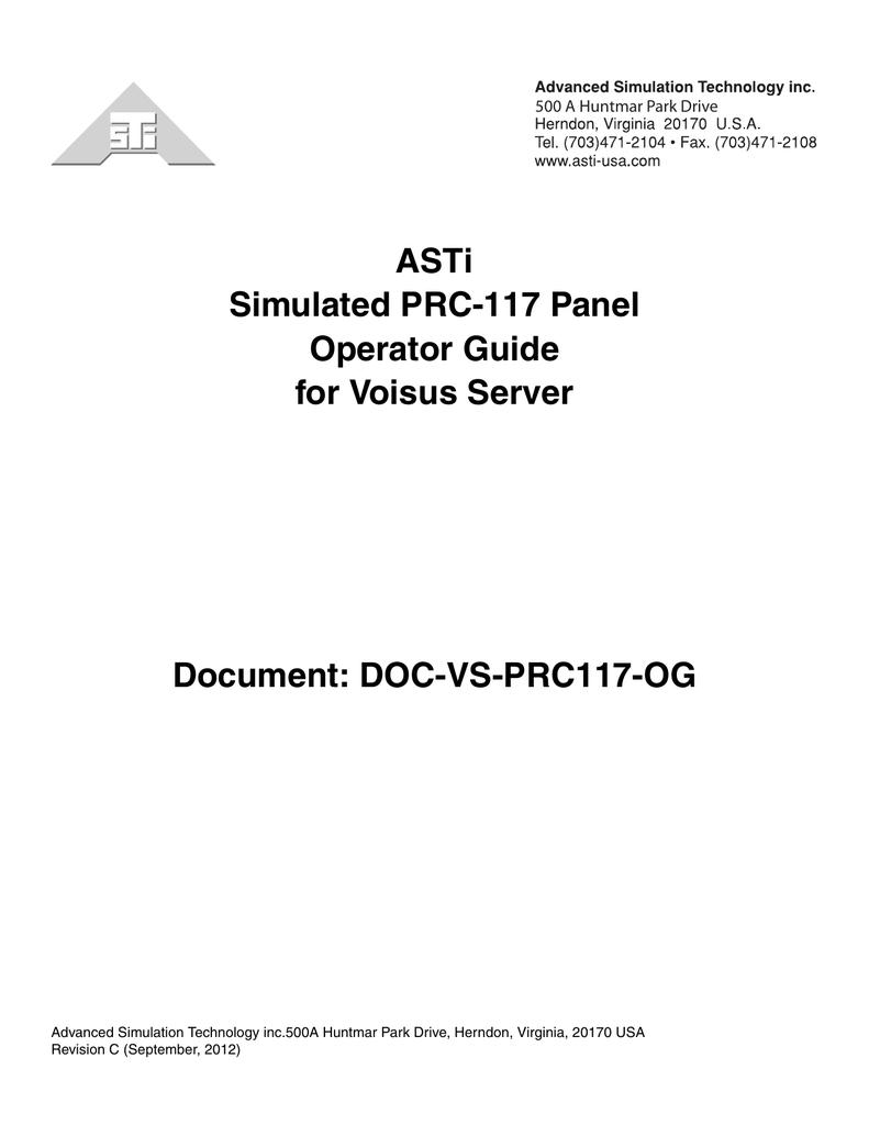 Simulated PRC-117 Panel Operator Guide | manualzz com