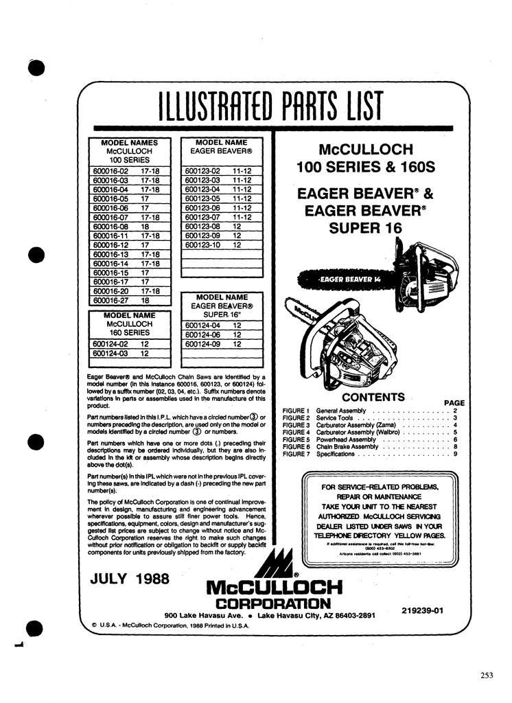 McCulloch Chainsaw Parts List 219239 | manualzz com