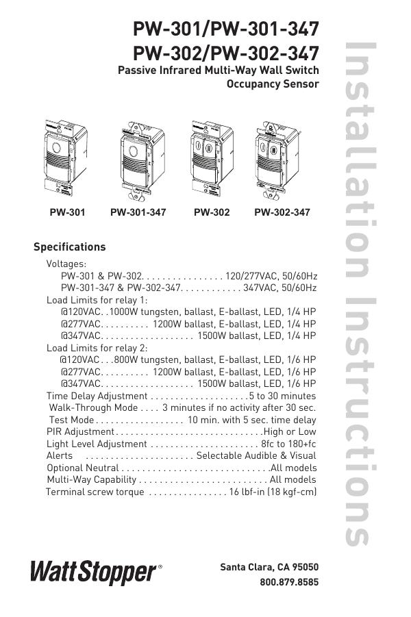 Installation Instructions PW-301/PW-301-347 PW-302/PW-302-347 ... on