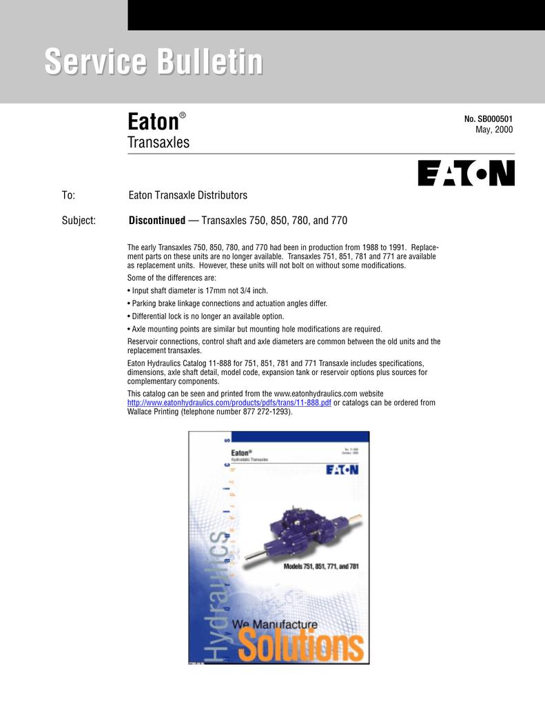 Service Bulletin Eaton Transaxles To: | manualzz com