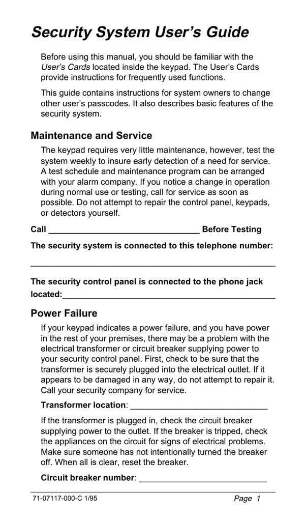 Security System User's Guide   manualzz com