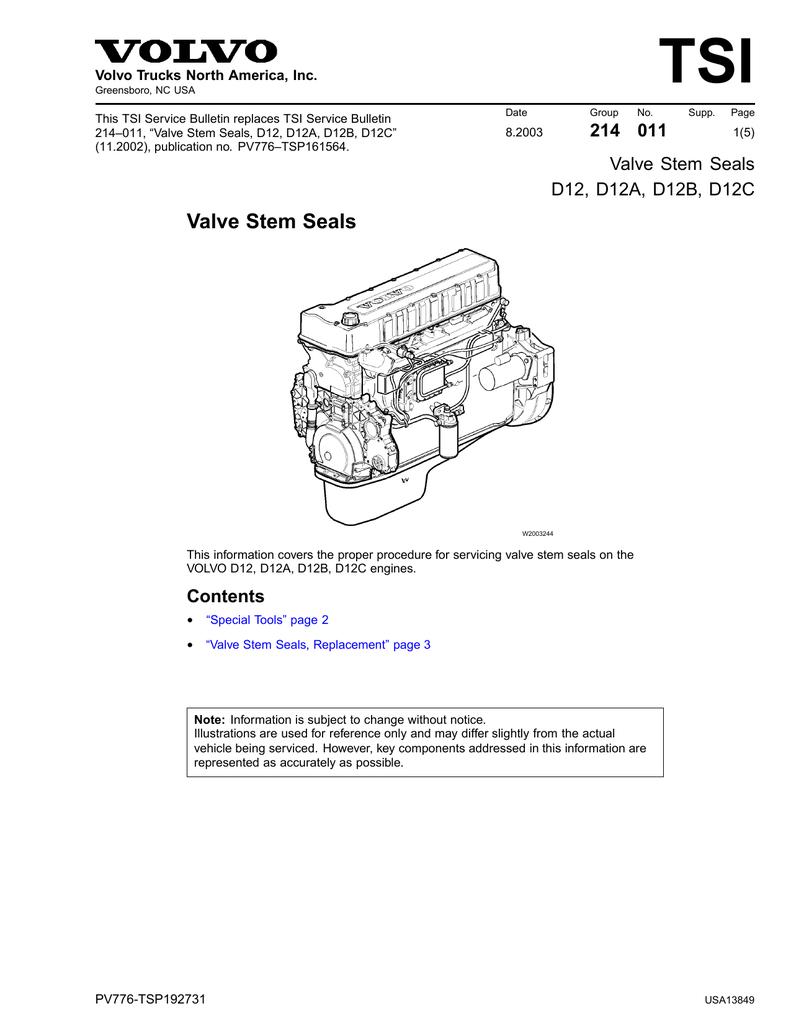 Valve Stem Seals - D12, D12A, D12B, D12C | manualzz com