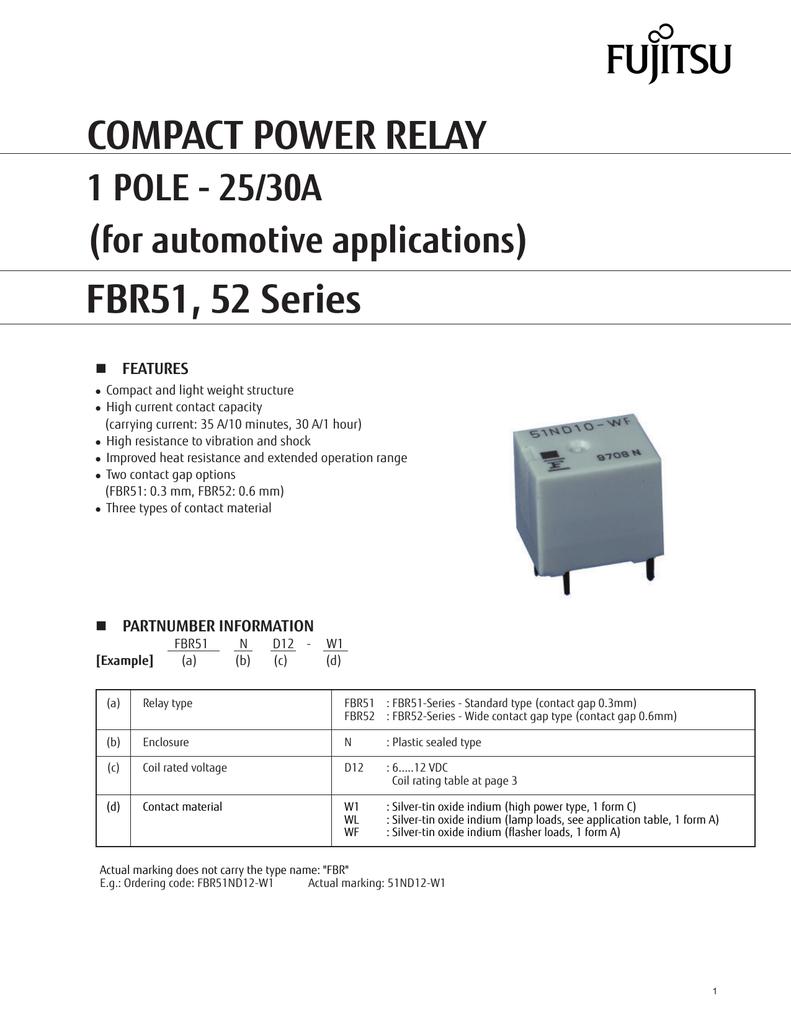 compact power relay fbr51 52 series 1 pole 25 30a for automotive rh manualzz com